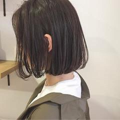 切りっぱなし 黒髪 ボブ ロブ ヘアスタイルや髪型の写真・画像
