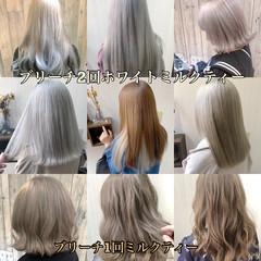 アッシュ 透明感カラー フェミニン ダブルカラー ヘアスタイルや髪型の写真・画像