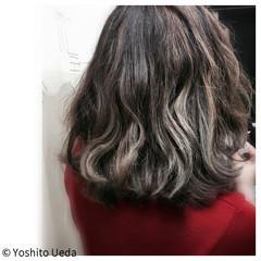 ハイライト アッシュ パーマ ボブ ヘアスタイルや髪型の写真・画像