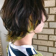 ハイトーン 簡単ヘアアレンジ インナーカラー ストリート ヘアスタイルや髪型の写真・画像