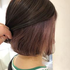 ピンクラベンダー ボブ インナーラベンダー インナーカラー ヘアスタイルや髪型の写真・画像
