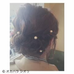 ヘアアレンジ ボブ パーティ 波ウェーブ ヘアスタイルや髪型の写真・画像