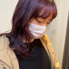 ピンクバイオレット ハイトーンカラー ガーリー セミロング ヘアスタイルや髪型の写真・画像