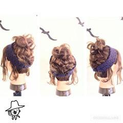 ヘアアクセ ねじり 編み込み お団子 ヘアスタイルや髪型の写真・画像