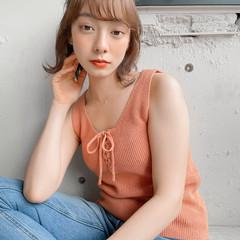 ミニボブ ミディアム 簡単ヘアアレンジ ナチュラル ヘアスタイルや髪型の写真・画像