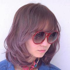 ハイライト パープル 外国人風 ストリート ヘアスタイルや髪型の写真・画像