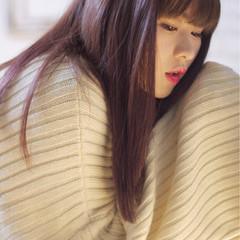 ラベンダーピンク グラデーションカラー ロング ブラントカット ヘアスタイルや髪型の写真・画像