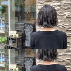 ヘアアレンジ ボブ ショート アッシュベージュ ヘアスタイルや髪型の写真・画像