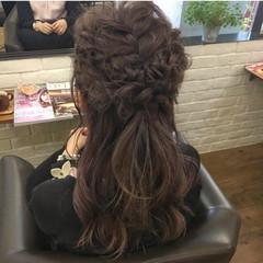 デート ヘアアレンジ ロング ハーフアップ ヘアスタイルや髪型の写真・画像
