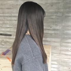 外国人風 ブラントカット ナチュラル ロング ヘアスタイルや髪型の写真・画像