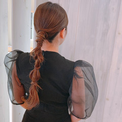 ポニーテールアレンジ 結婚式ヘアアレンジ モード 大人女子 ヘアスタイルや髪型の写真・画像