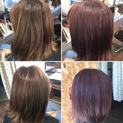 ピンク ミディアム ラズベリーピンク ベリーピンク ヘアスタイルや髪型の写真・画像
