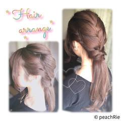 ポニーテール ヘアアレンジ 編み込み セミロング ヘアスタイルや髪型の写真・画像