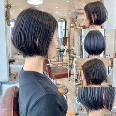 フェミニン ショート 切りっぱなしボブ ショートボブ ヘアスタイルや髪型の写真・画像