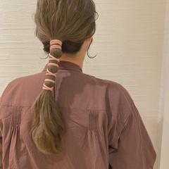 簡単ヘアアレンジ ロング セルフヘアアレンジ お洒落 ヘアスタイルや髪型の写真・画像