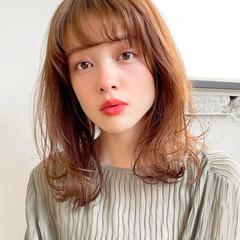 ミディアム 透明感カラー デジタルパーマ ウルフカット ヘアスタイルや髪型の写真・画像