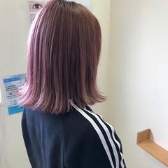 ブリーチカラー ボブ ピンク ブリーチオンカラー ヘアスタイルや髪型の写真・画像