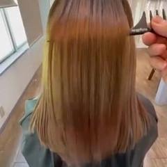 梅雨 ストレート 艶髪 セミロング ヘアスタイルや髪型の写真・画像