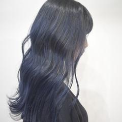 ハイトーンカラー ネイビーカラー ストリート ネイビー ヘアスタイルや髪型の写真・画像