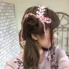 ツインテール ガーリー デート セミロング ヘアスタイルや髪型の写真・画像