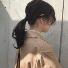 ナチュラル 簡単ヘアアレンジ セミロング シアーベージュ ヘアスタイルや髪型の写真・画像