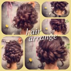 アップスタイル 編み込み コンサバ ヘアアレンジ ヘアスタイルや髪型の写真・画像