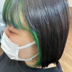 インナーカラー ミニボブ ダブルカラー ナチュラル ヘアスタイルや髪型の写真・画像
