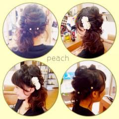 フェミニン くるりんぱ ゆるふわ ヘアアレンジ ヘアスタイルや髪型の写真・画像