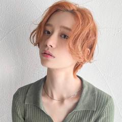 オレンジカラー ハンサムショート ショートヘア ショート ヘアスタイルや髪型の写真・画像