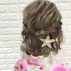 涼しげ ガーリー ボブ 簡単ヘアアレンジ ヘアスタイルや髪型の写真・画像