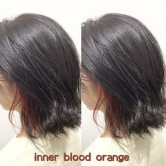 オレンジカラー ストリート インナーカラー ヘアカラー ヘアスタイルや髪型の写真・画像