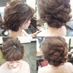ゆるふわ シニヨン 結婚式 セミロング ヘアスタイルや髪型の写真・画像