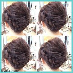 お祭り ヘアアレンジ 夏 編み込み ヘアスタイルや髪型の写真・画像
