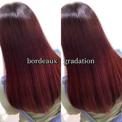 カシスカラー ストリート ヘアカラー セミロング ヘアスタイルや髪型の写真・画像