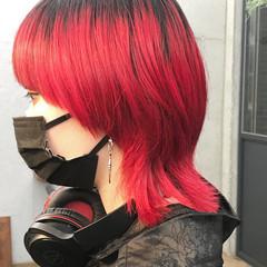 マッシュウルフ モード ウルフ女子 ミディアム ヘアスタイルや髪型の写真・画像