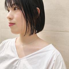 透明感カラー 前髪あり 似合わせカット 前髪パッツン ヘアスタイルや髪型の写真・画像