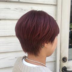 ショートボブ ショート ピンクベージュ ナチュラル ヘアスタイルや髪型の写真・画像