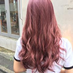 ピンク 大人かわいい ロング ブリーチ ヘアスタイルや髪型の写真・画像