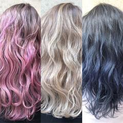 ロング ピンク ベージュ ストリート ヘアスタイルや髪型の写真・画像