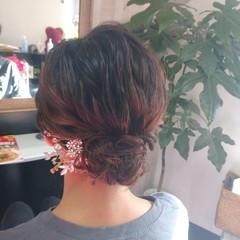 着物 ふわふわヘアアレンジ ヘアアレンジ ミディアム ヘアスタイルや髪型の写真・画像