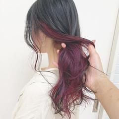 ダブルカラー インナーカラー カラーバター ロング ヘアスタイルや髪型の写真・画像