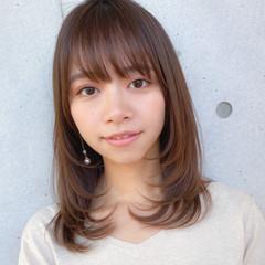 毛先パーマ セミロング ナチュラル 透明感カラー ヘアスタイルや髪型の写真・画像