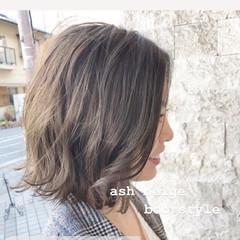 ミニボブ ナチュラル モテボブ アッシュ ヘアスタイルや髪型の写真・画像