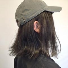 暗髪 アッシュ 外ハネ ボブ ヘアスタイルや髪型の写真・画像