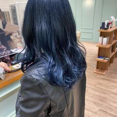 ネイビーブルー 韓国ヘア モード ネイビーアッシュ ヘアスタイルや髪型の写真・画像