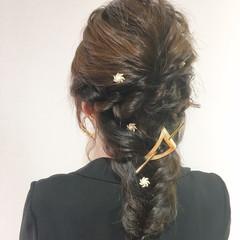 ヘアアレンジ 大人女子 セミロング 編み込み ヘアスタイルや髪型の写真・画像