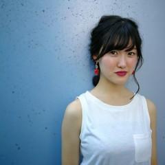 簡単ヘアアレンジ ガーリー オフィス パーティ ヘアスタイルや髪型の写真・画像