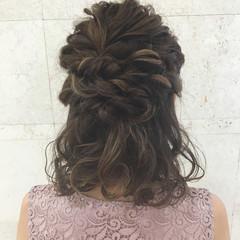 デート ボブ 結婚式 ハーフアップ ヘアスタイルや髪型の写真・画像