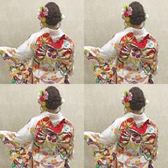 成人式カラー セミロング ヘアアレンジ フェミニン ヘアスタイルや髪型の写真・画像