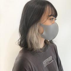 イヤリングカラー ガーリー デザインカラー インナーカラー ヘアスタイルや髪型の写真・画像
